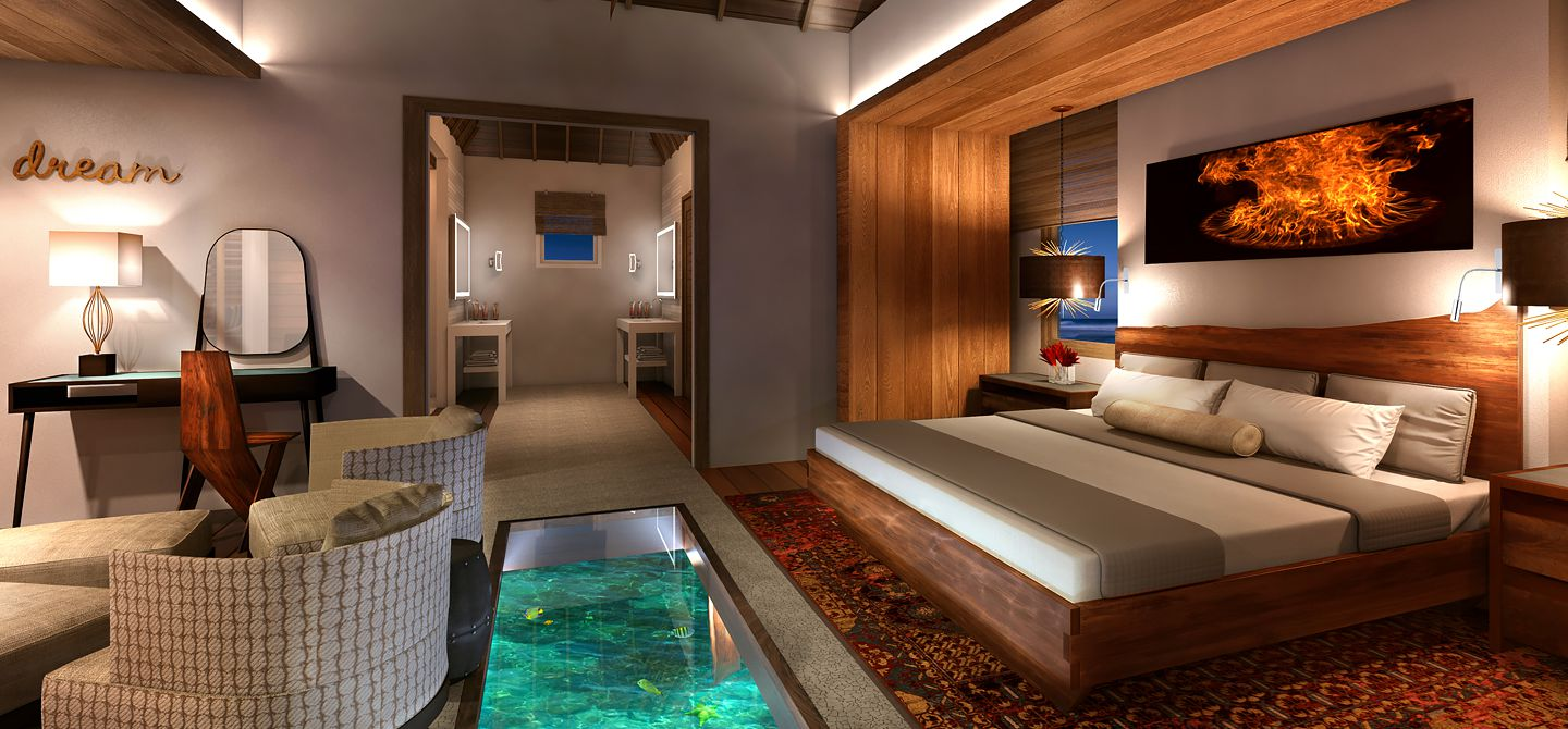 Sandals Royal Caribbean Over-The-Water Villas Bedroom, Montego Bay, Jamaica. https://www.jamaica-reggae-music-vacation.com/Sandals-Royal-Caribbean.html