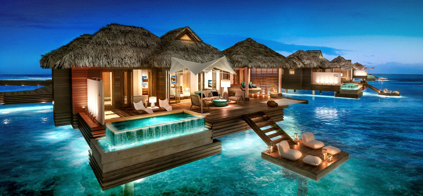 Sandals Royal Caribbean Over-The-Water Villas, Montego Bay, Jamaica. http://www.jamaica-reggae-music-vacation.com/Sandals-Royal-Caribbean.html
