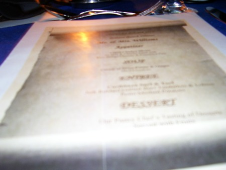 Menu at Couples Ocho Rios beach dinner