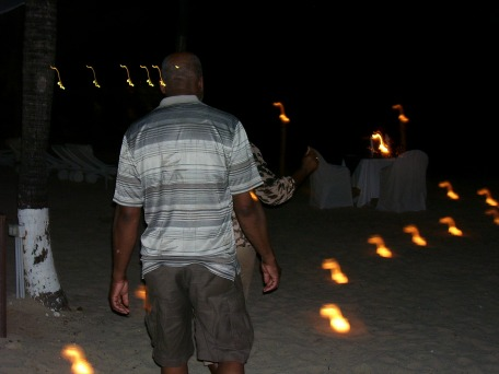 Lit Walk way on the beach at Couples Tower Isl